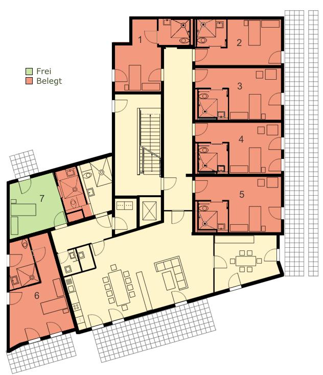 Grundriss Wohngemeinschaft außerklinische Intensivpflege Walbadviertel Köln